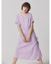 Bouton - Uneven Check Dress - Lavender - Lyst
