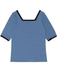 among - A Square Neck Stripe T - Lyst