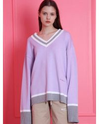WAIKEI - [unisex] Color Block V-neck Knit Light Purp - Lyst
