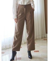 LIUNICK - Tailoring Button Wide Slacks Beige - Lyst