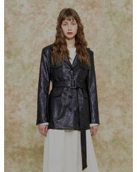 among - A Artificial Leather Jacket Black - Lyst