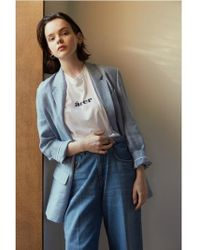 AEER - Jacket Harringbone Linen Blue - Lyst