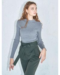 AYIHOLIC CASHMERE - Ribbed Knit Top Grey - Lyst
