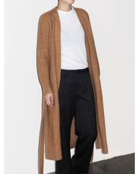 AYIHOLIC CASHMERE - Cashmere Open Front Belted Long Cardigan Camel - Lyst