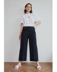 AEER - Trousers Wide Wool Span Navy - Lyst