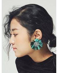 VON DITOLE - Mirabo Vintage Sequin Flower Earrings- Green - Lyst