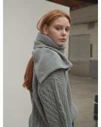 NILBY P - Two Way Wool Pullover Muffler Set Gray - Lyst