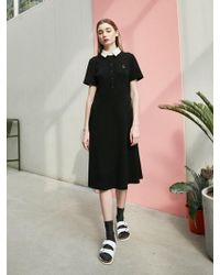 COLLABOTORY - Fit And Flare Pique Dress Black - Lyst