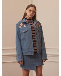 TARGETTO - Roses Denim Jacket Light Blue - Lyst