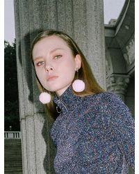 CLUT STUDIO - 1 1 Pompom Drop Earrings - Pink - Lyst