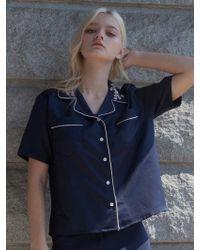 TARGETTO - Sakura Pajama Shirts Navy White - Lyst