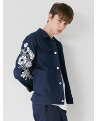 BONNIE&BLANCHE - Floral Print Denim Jacket Navy - Lyst