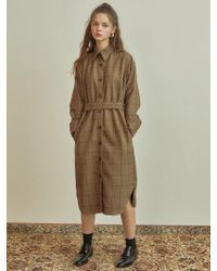 W Concept - R Check Shirt Dress_brown - Lyst