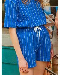 W Concept - [unisex] Dizzee Striped Short Pants (blue) - Lyst