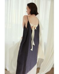 AEER - Dress Sleeveless Ribbon Back Linen Black - Lyst