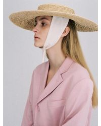 Awesome Needs - Raffia Straw Boater Hat_cotton Ribbon - Lyst
