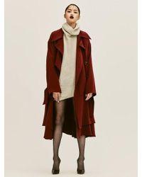 W Concept - Burgundy Silk Trench Coat - Lyst