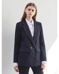 LIUNICK - Stripe Tailored Wool Double Jacket Black - Lyst