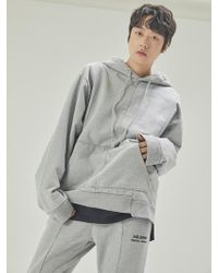 A.GLOWW - Insize Lettering Embroidery Hoodie Grey - Lyst