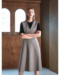COLLABOTORY - Bacma4015m Deep V Jumper Dress Check - Lyst