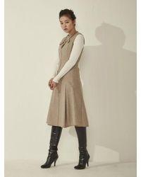 Aheit - Wool Silk Sleeveless Flared Dress Light Beige - Lyst