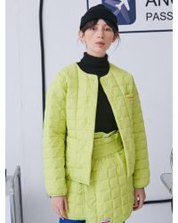 ANOTHER A - Square Padded Jacket Lime - Lyst