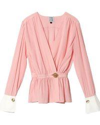 THE ASHLYNN - Woori Silk Wrap With Cuff Blouse Pink - Lyst