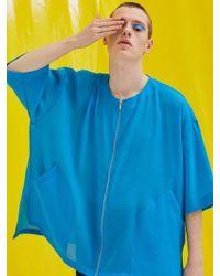 Add - [unisex] Short Sleeve Zipper Jacket Blue - Lyst