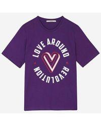 a.t.corner - Purple Cotton Lettering T Shirts - Lyst