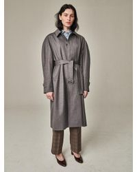 Bouton - Blown Sleeve Trench Coat Grey Herringbone - Lyst