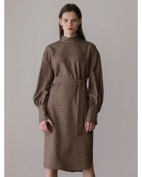 AEER - Pleated Button Back Wool Dress Brown - Lyst