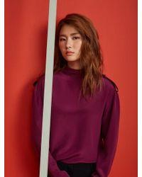 Aheit - Over Sized Silk Blouse Burgundy - Lyst