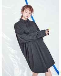 VOIEBIT - [unisex] V423 Smooth Oversize Long Shirt Charcoal - Lyst