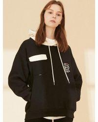 W Concept - Lt263 Happy Smile Sweatshirts Hoodie Black Cream - Lyst