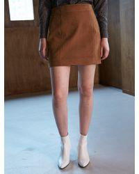 COLLABOTORY - Bacma7001 Corduroy Mini Skirts Camel - Lyst