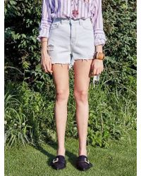 YAN13 - Wild Cutting Denim Shorts_denim - Lyst