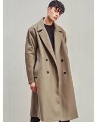 LIUNICK - Heavy Wool Bland Oversize Double Coat (beige) - Lyst
