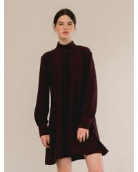 W Concept - Shirring Sleeve Dress-wine - Lyst