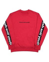 FRESH ANTI YOUTH - Band-crewneck Sweater Red - Lyst
