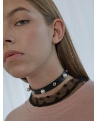 bpb - Pearl Cubic Leather Choker - Lyst