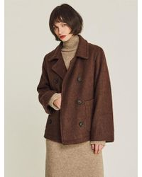 LIUNICK - Short Wool Double Jacket Brown - Lyst