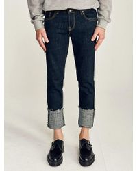 LIUNICK - Deep Washed Roll-up Jean - Lyst