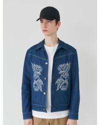 BONNIE&BLANCHE - Embroidered Denim Jacket Blue - Lyst