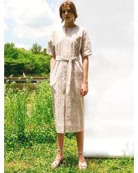 LETQSTUDIO - Jaquard Linen Dress Pink - Lyst