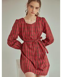 YAN13 - Gingham Check Puff Dress Red - Lyst