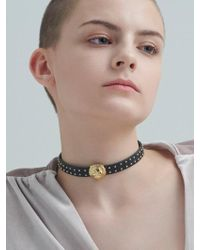 VIOLLINA - Another V Lion Leather Choker - Lyst