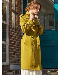 W Concept - Cotton Trench Coat Olive Green - Lyst