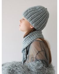 Awesome Needs - Hand Made Lambs Wool Knit Beanie_blue Grey - Lyst