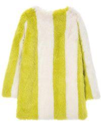 Jin Jin Island - Stripe Faux Fur Coat Yellow White - Lyst