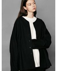 VOIEBIT - [unisex] V412 V-neck Over Shirt Black - Lyst
